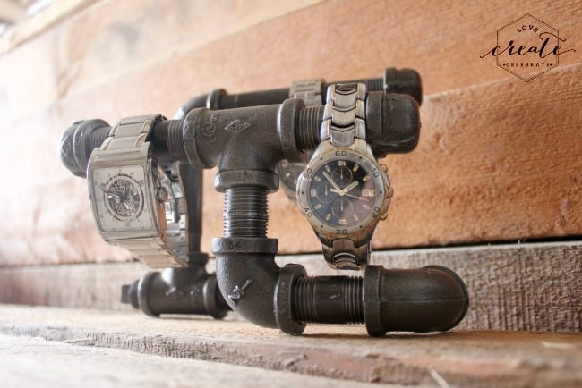 Make your own DIY industrial watch holder. This watch holder DIY would be a great gift for anyone! It only takes a few supplies and an afternoon to make your own.