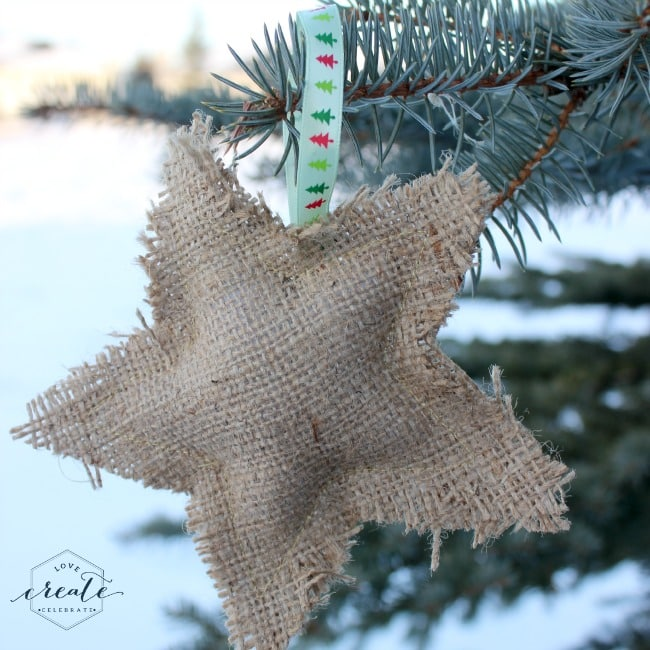 DIY burlap tree ornaments