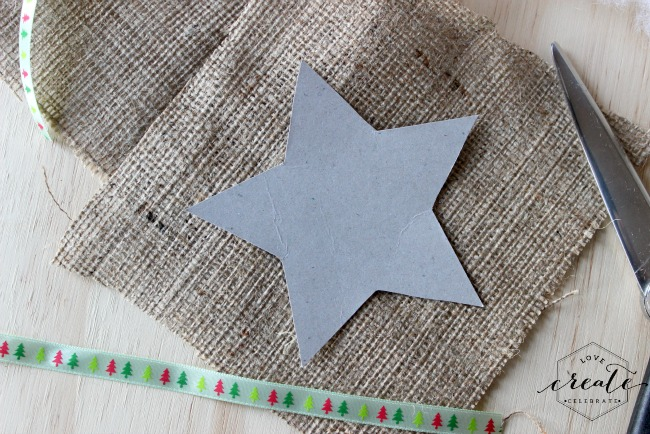 All you need for this project is some burlap sheets and some ribbon