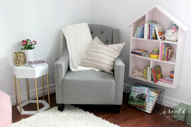 Hexagon side table in the reading nook