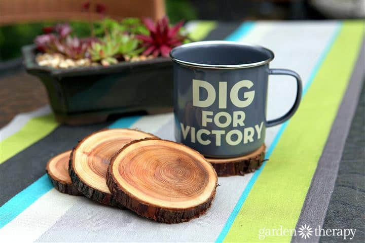 enamel-dig-for-victory-mug-and-natural-branch-coasters-project-via-garden-therapy-coasters-recycle1-a5