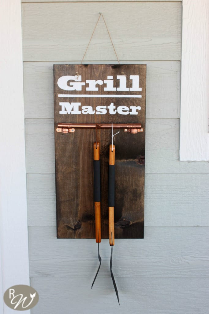 This Grill Master sign is awesome for storing all outside cooking tools.