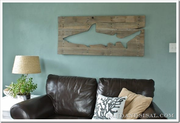 This pallet art shark is a fun coastal piece for any man cave.