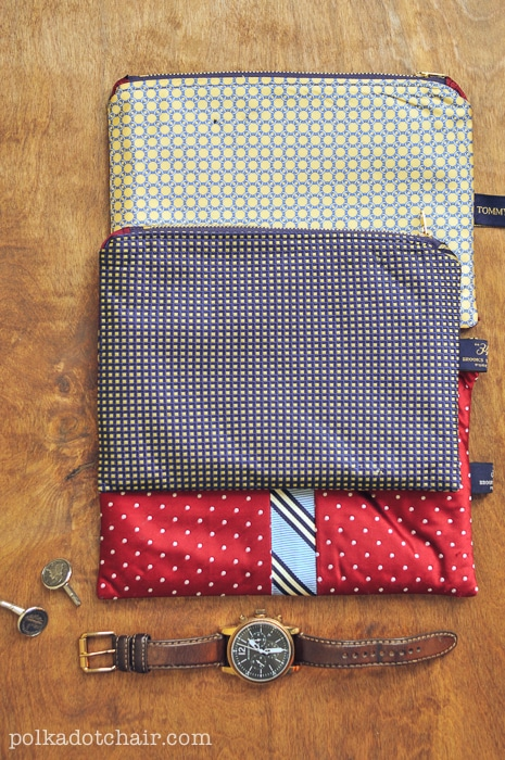 These necktie zipper pouches make great gifts for the men in your life.