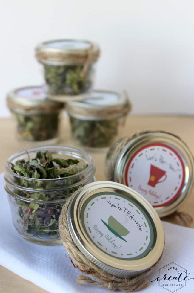 Mason jars with peppermint tea