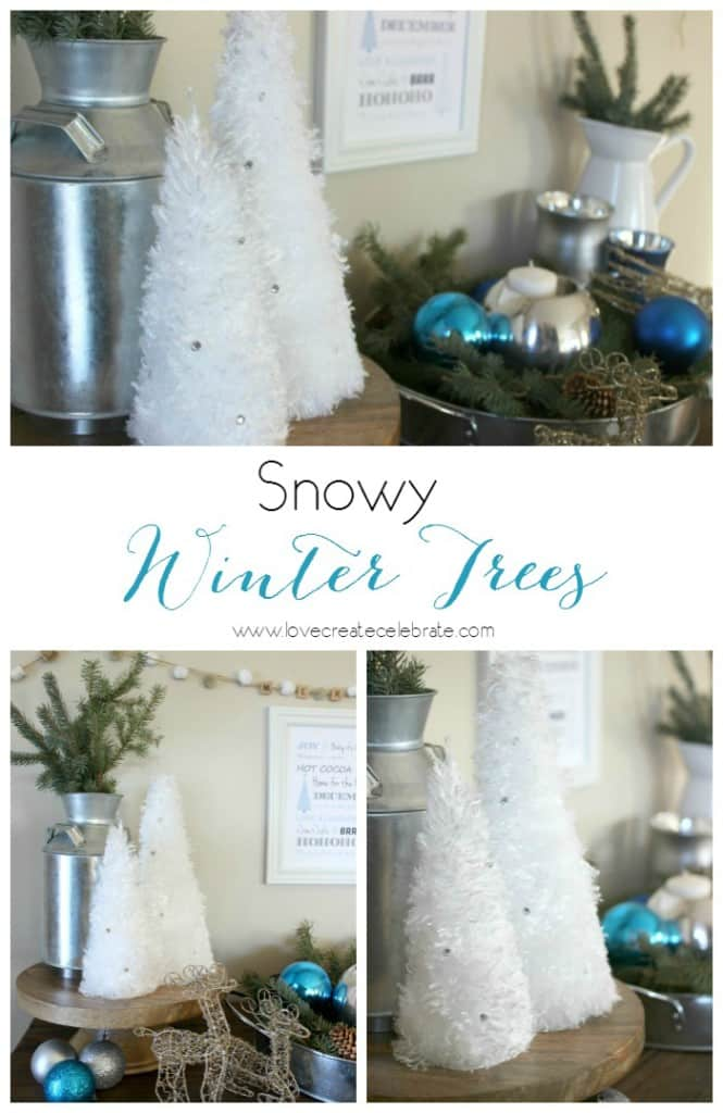 Snowy Winter Trees - The perfect winter craft that you can start and finish in five minutes! I love that you can make these and leave them up all winter long!