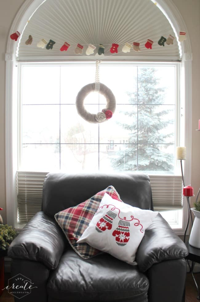 Add the finished Christmas pillow to your couch