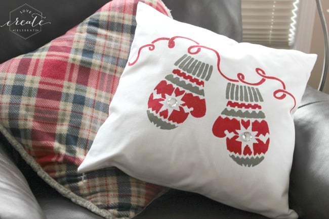 my custom-made stenciled mitten pillow