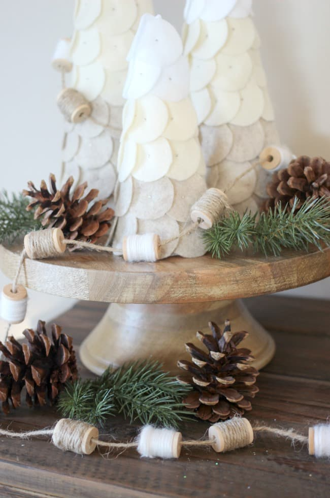 natural spool garland