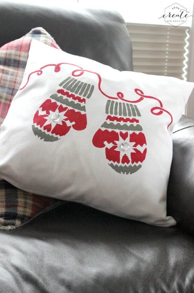 What the stencil Christmas pillow looks like when it's done