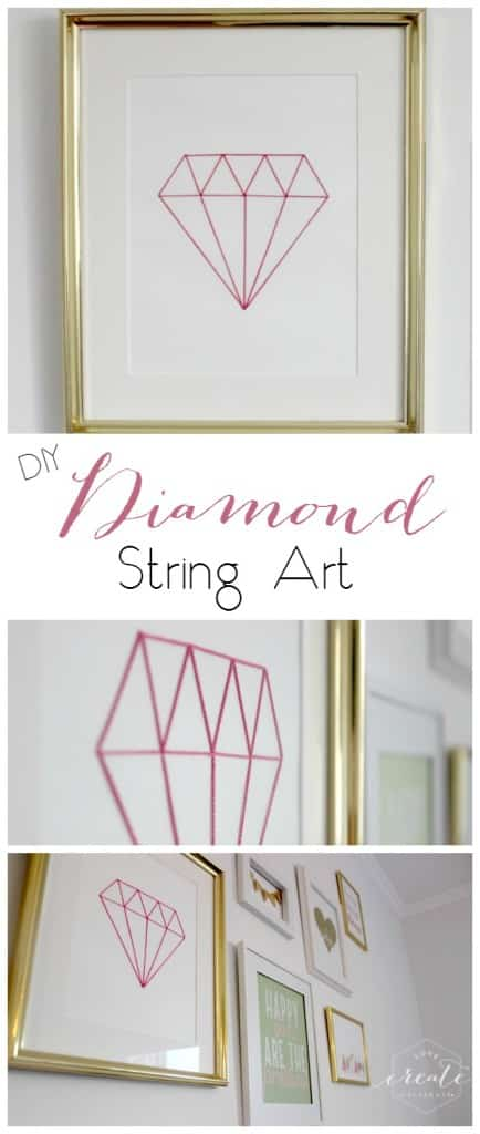 DIY tutorial for this Chic Diamond String Art using embroidery sting! Part of a beautiful white and gold gallery wall :)