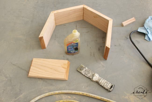 Use wood glue to build the hexagon