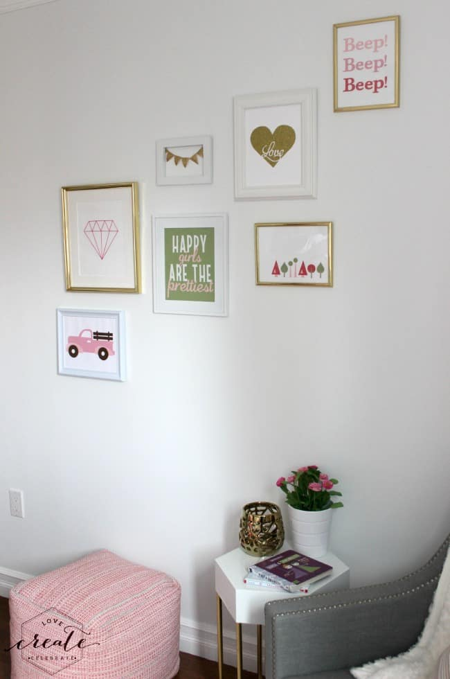Chic white and gold gallery wall for a girl's bedroom!