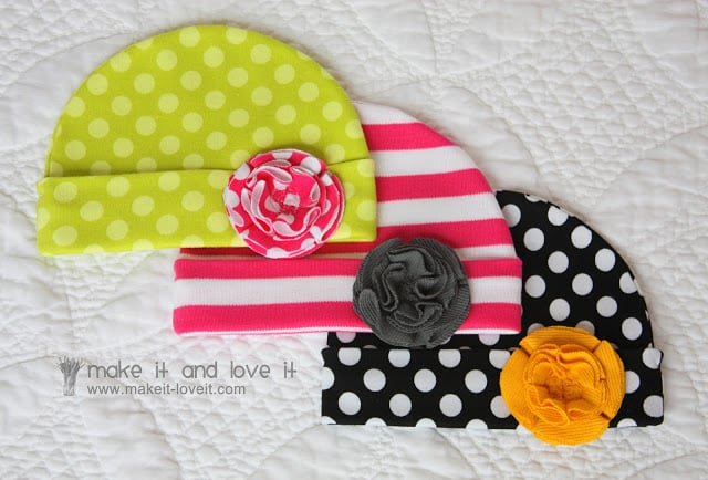 If your new baby girl doesn't come with a hat, make your own with this simple tutorial