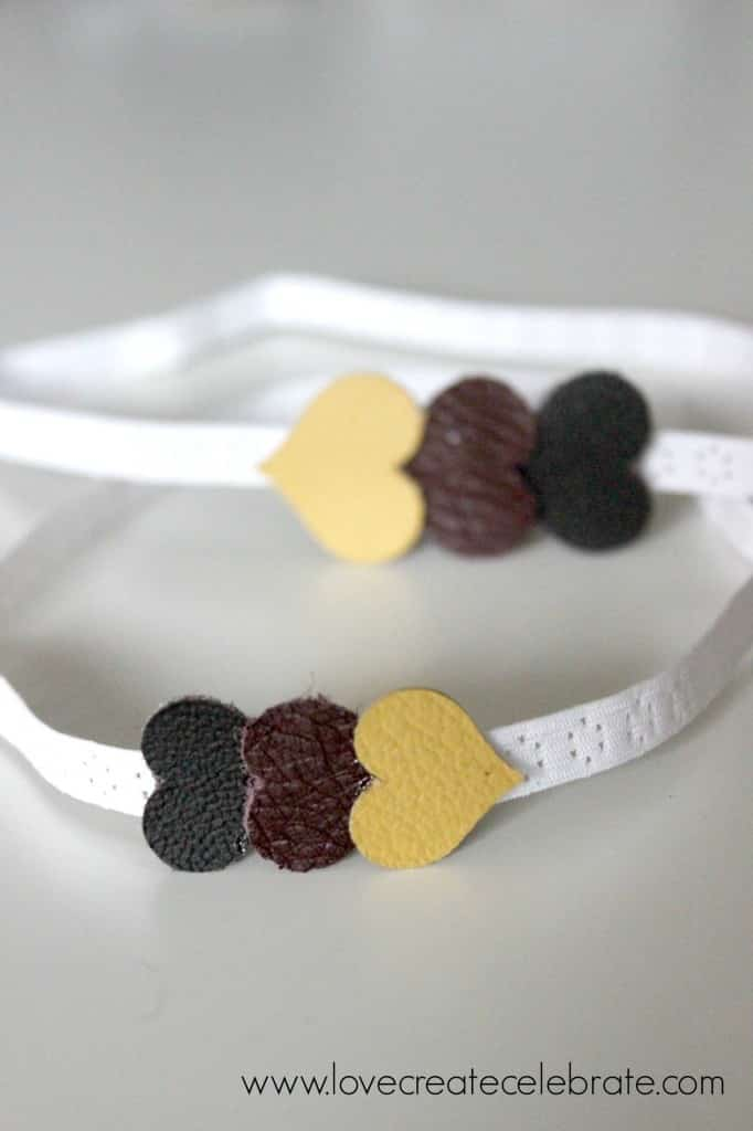 This baby headband with little leather hearts is an adorable accessory for a baby girl