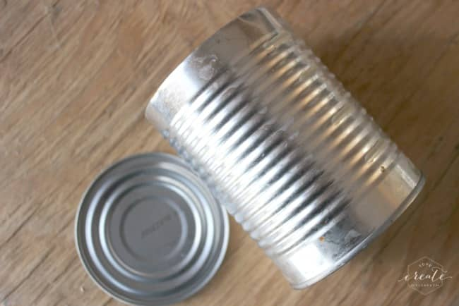 Transform this simple tin can into and adorable Valentines card and candy holder