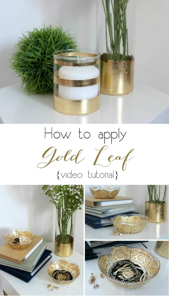Watch a quick and easy video tutorial to show you how to apply gold leaf to any decorative item in your home!