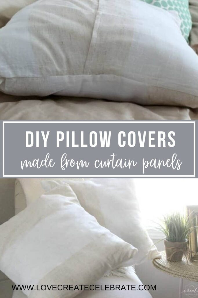 Image collage of completed DIY pillow covers with text overlay