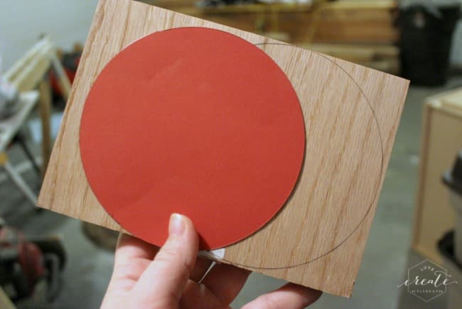 Create the center of your sunburst mirror from a piece of wood