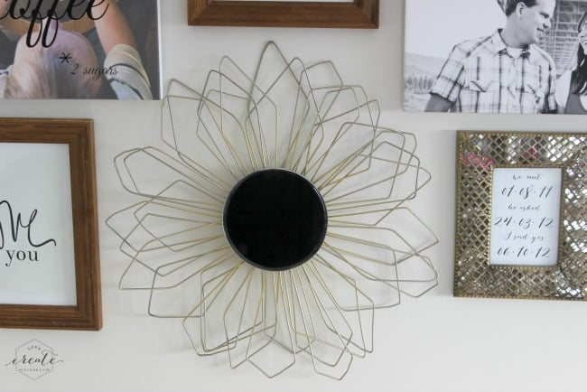 This DIY sunburst mirror looks amazing as part of a gallery wall