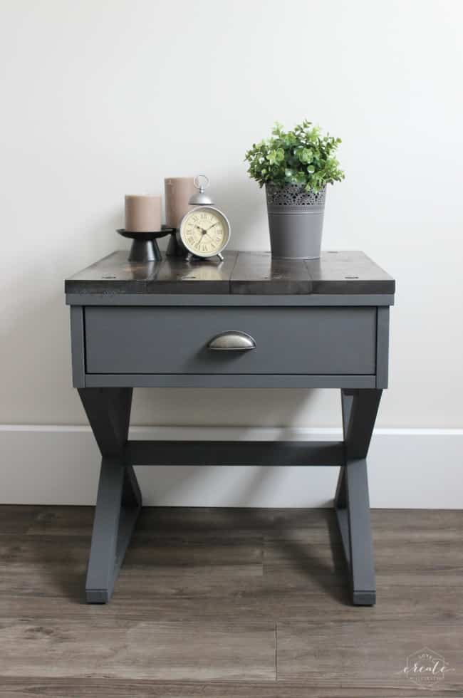 Modern Industrial Side Table Makeover