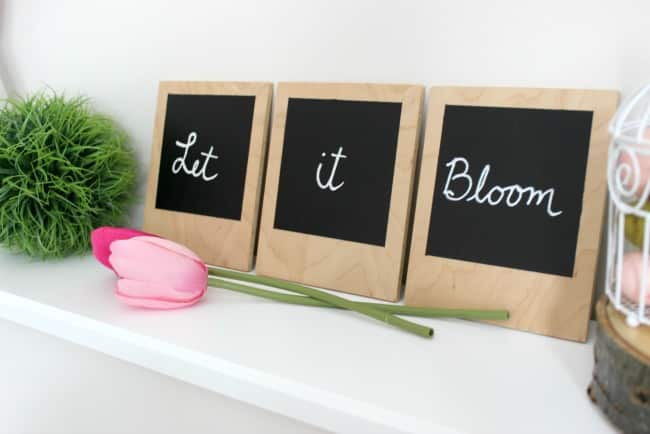 Use chalkboard paint and pltywood to make these beautiful faux Polaroids in just a few simple steps!