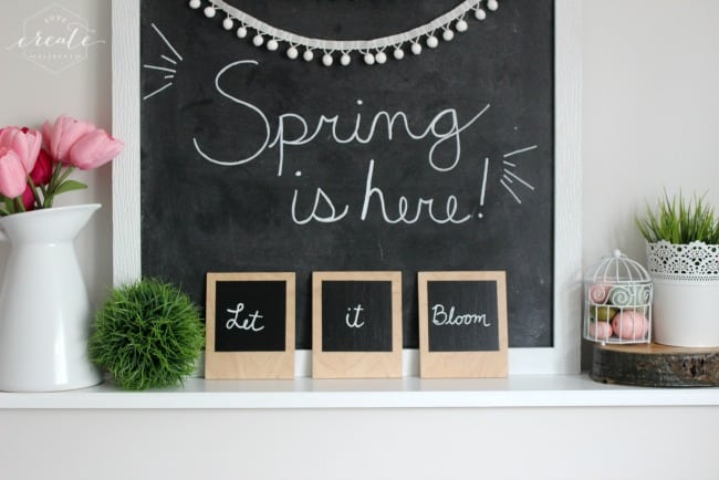 These plywood polaroids are the perfect addition to any Spring mantle!