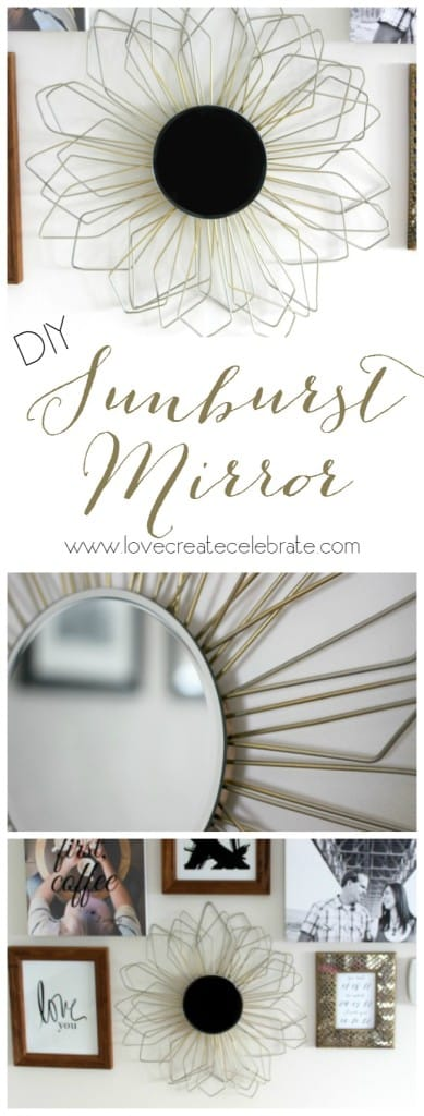 Anthropologie Inspired DIY Sunburst Mirror made with recycled wire coat hangers
