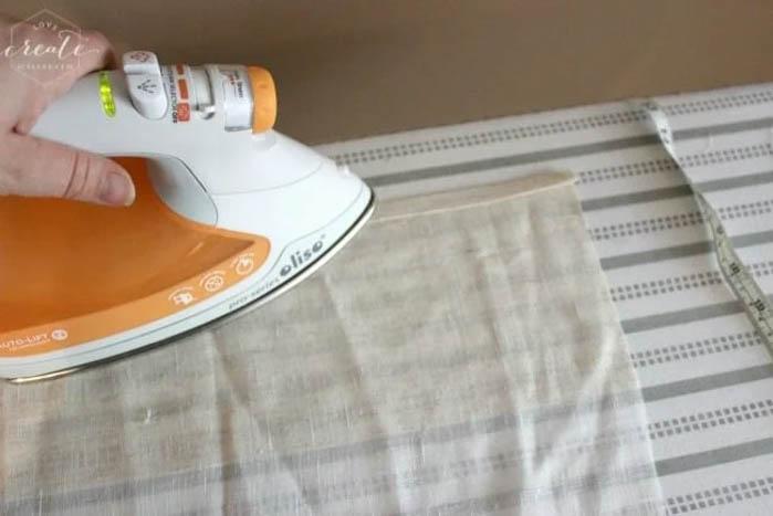 ironing edges of fabric