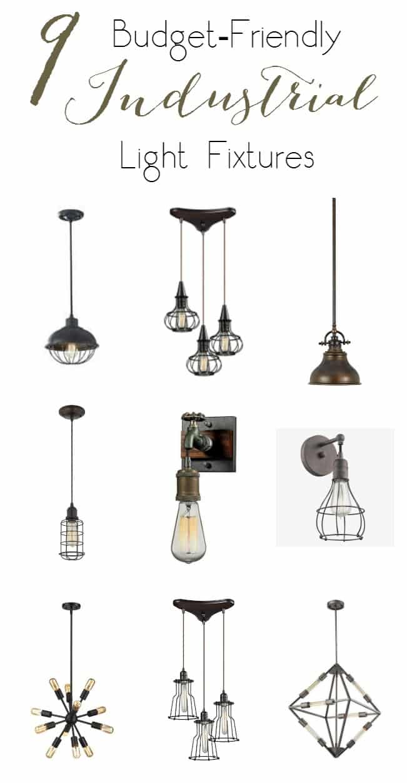 budget friendly industrial light fixtures love create. Black Bedroom Furniture Sets. Home Design Ideas