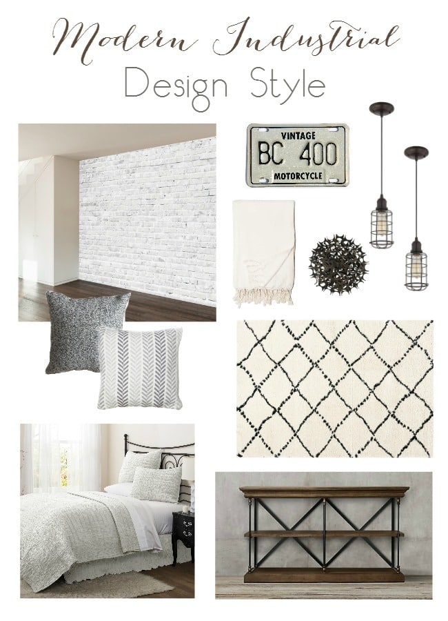 Inspiration board for a Modern Industrial Room. Beautiful neutral palette with natural and modern elements.