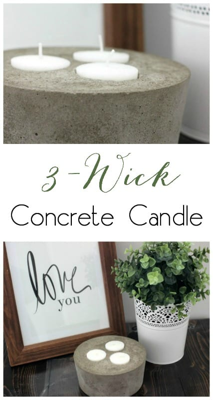 3-wick concrete candle