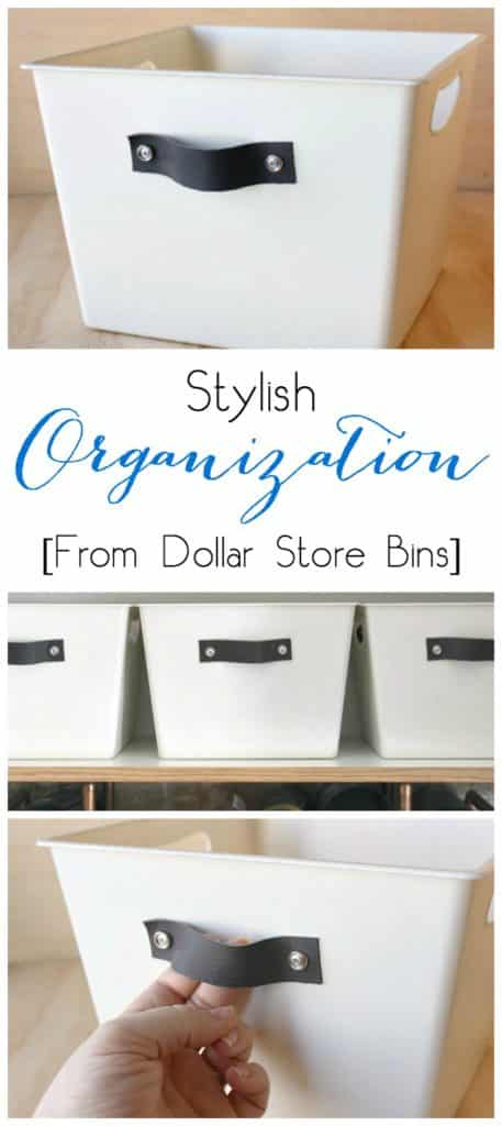 Turn any dollar store bin into DIY stylish organization totes with spray paint and leather handles. Perfect for the kitchen, bedroom or linen closet!