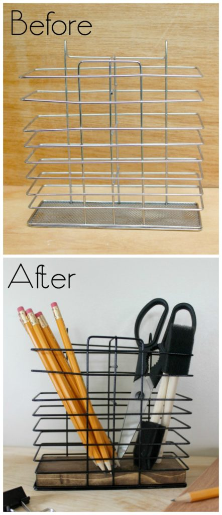 Can't believe this bath caddy upcycle! Perfect desk organization idea! Love the rustic industrial vibe. Perfect for my office, or my teen going off to college!