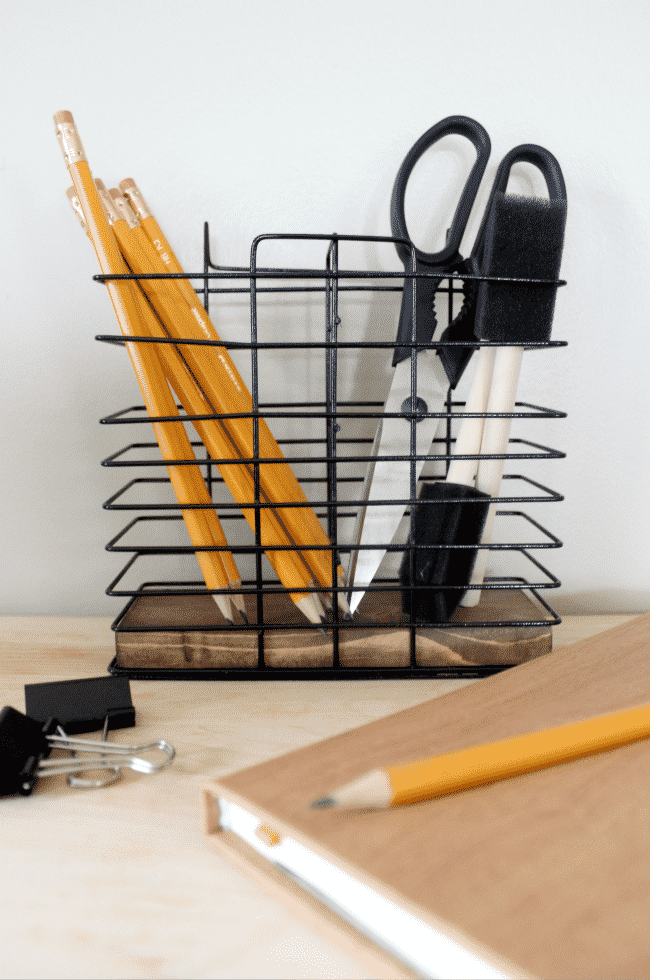 Perfect desk organization idea! Love the rustic industrial vibe. Perfect for my office, or my teen going off to college!