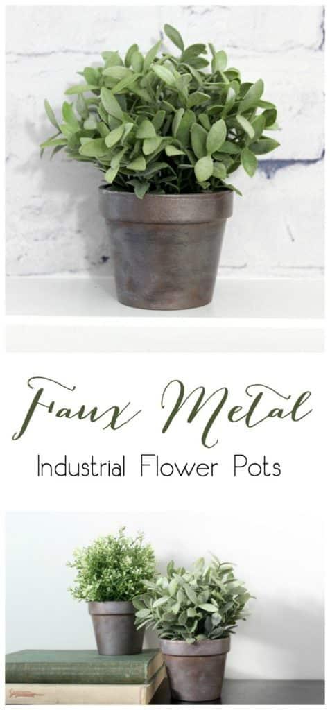 Faux Metal Industrial Flower Pots