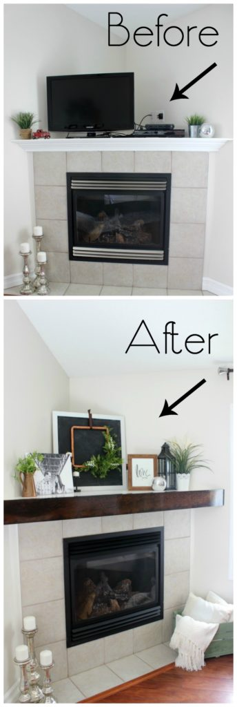 Before and after our fireplace makeover with the addition of a DIY wooden mantel
