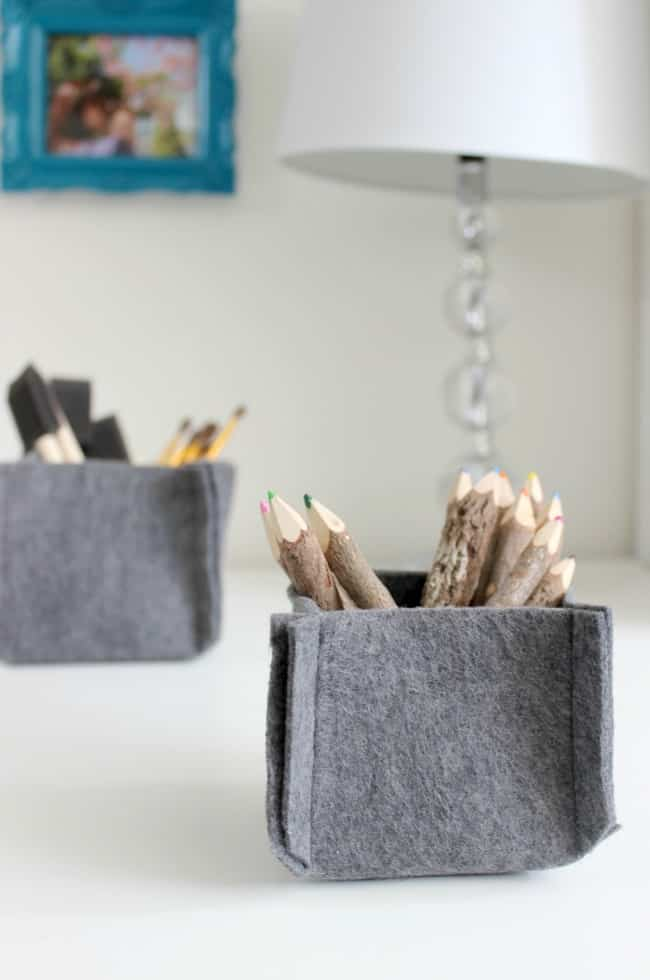 Easy to make baskets will help keep your desk organized