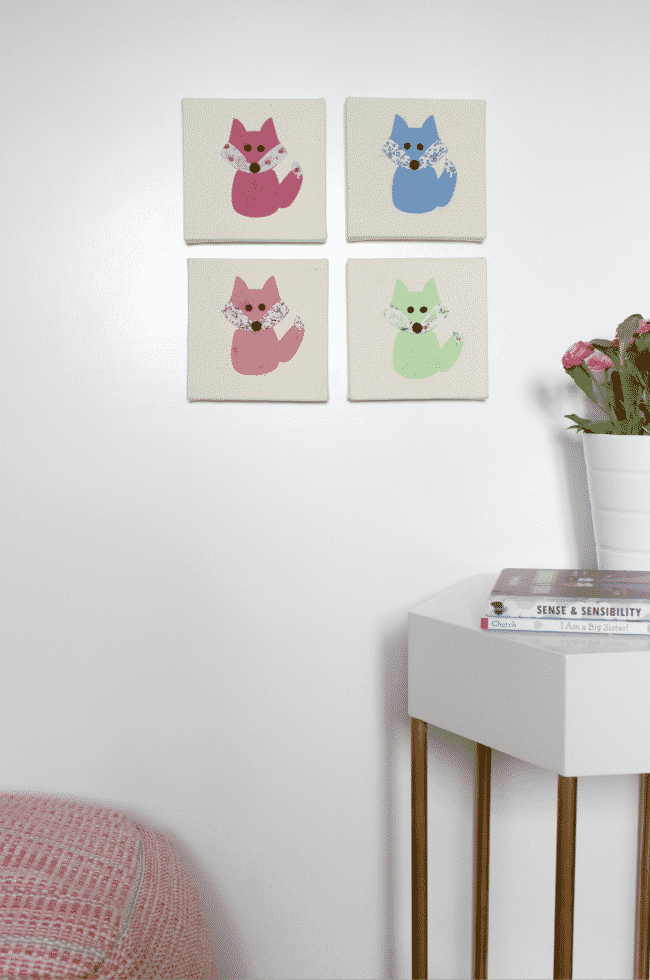 Perfect art for a little girl's bedroom. These foxes are adorable!