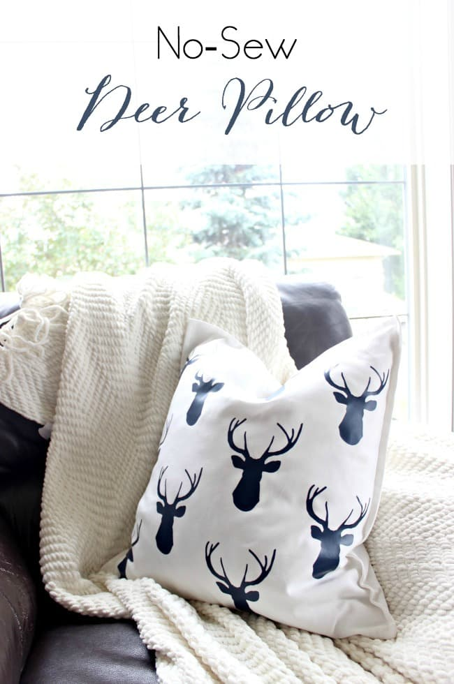 I LOVE this DIY pillow idea! Perfect transition throw pillow for fall and winter! It would make great cottage or cabin decor too!