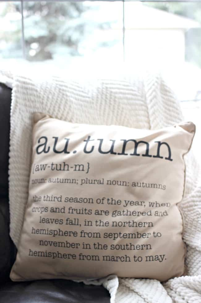 Fun, autumn pillows really add to the custom home decor
