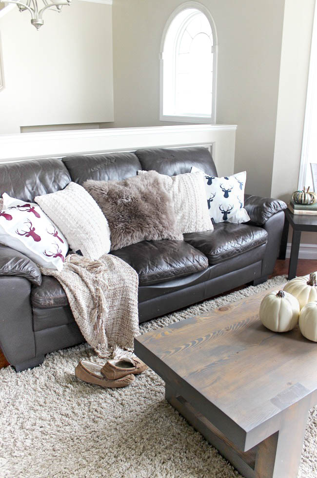 Pillows and small table decor can do wonders for a cozy fall decor feel