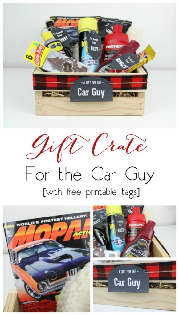 Perfect for the Car Guy! Instead of gift baskets, why not opt for the more manly Gift Crate?! The perfect crate for any guy on your list, plus an amazing list of suggestions!