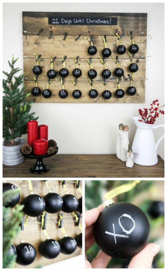 A beautiful rustic advent calendar to celebrate the holiday season. Love this Christmas decoration idea, especially the chalkboard ornaments!