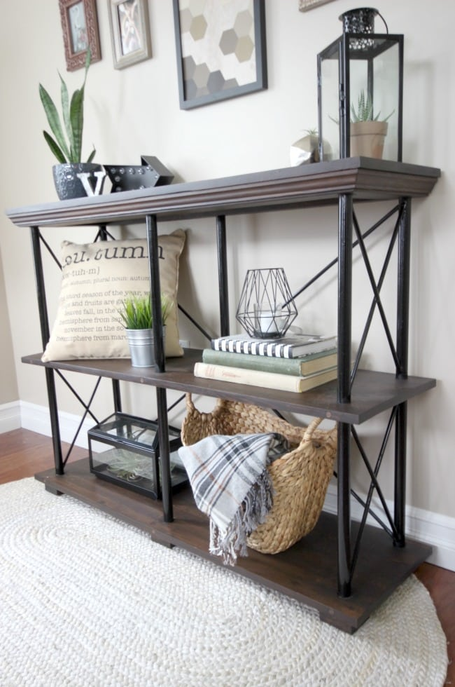Free Build Plans For This Beautiful Rustic Industrial Furniture Piece DIY Shelf Would Look