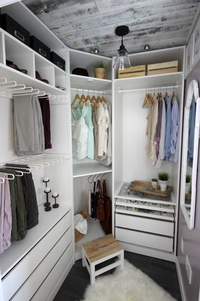There are many awesome lighting elements as part of this dream closet makeover.