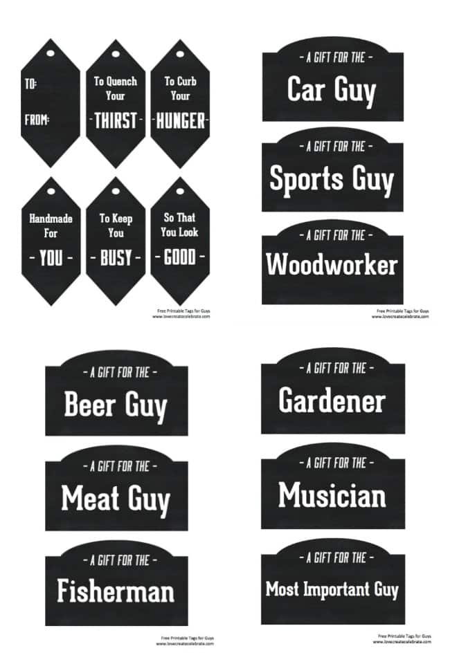 Instead of gift baskets, why not opt for the more manly Gift Crate?! The perfect crate for any guy on your list and free printables to label everything!