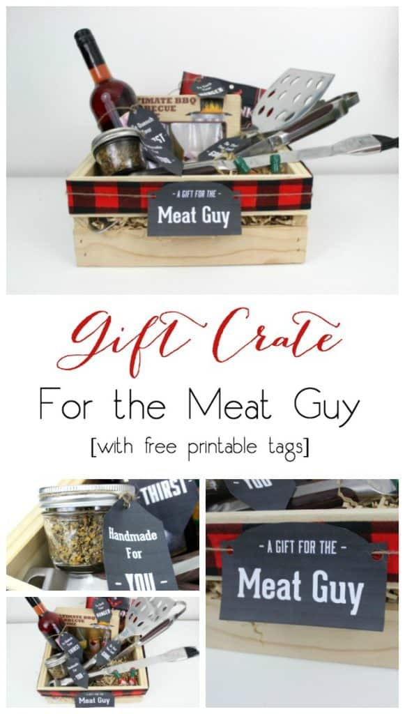 Perfect for the meat or BBQ guy! Instead of gift baskets, why not opt for the more manly Gift Crate?! The perfect crate for any guy on your list, plus an amazing list of suggestions!