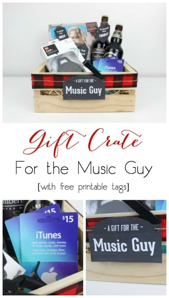 Perfect for the musician or music lover! Instead of gift baskets, why not opt for the more manly Gift Crate?! The perfect crate for any guy on your list, plus an amazing list of suggestions!