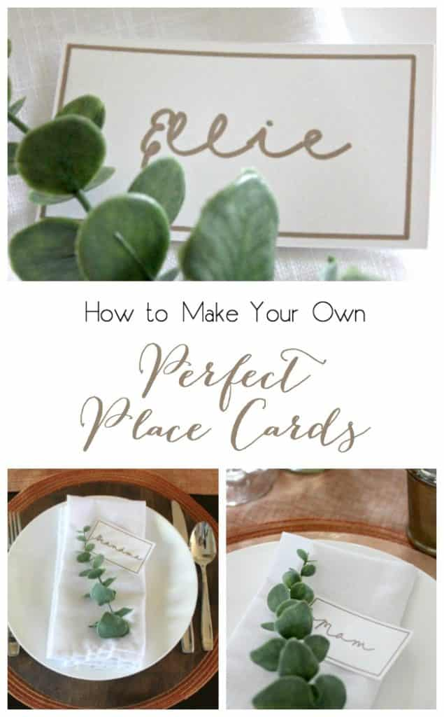 Make perfect handwritten place cards (even if you don't have perfect writing!). Beautiful for any table setting! I'm dreaming of Thanksgiving and Christmas tables :)